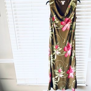 Tommy Bahama Green Floral Silk Maxi Dress Size 12